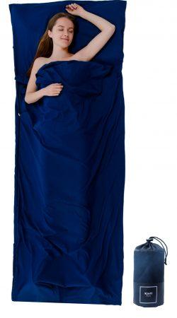 Mikrofaser Hüttenschlafsack blau Schlafsack 220 cm x 90 cm als Decke nutzbar XXL Reisedecke Inlay Inlett Travel Sheet