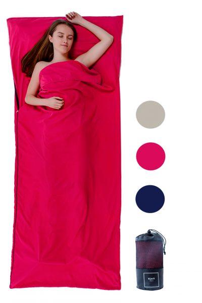 Schlafsack Inlay pink große Decke Hüttenschlafsack Baumwolle leicht günstig Premium Qualität ideal zum Wandern